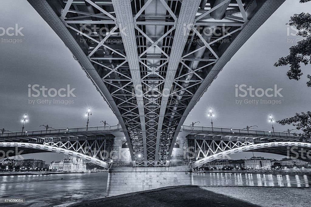 Margaret Bridge at night stock photo