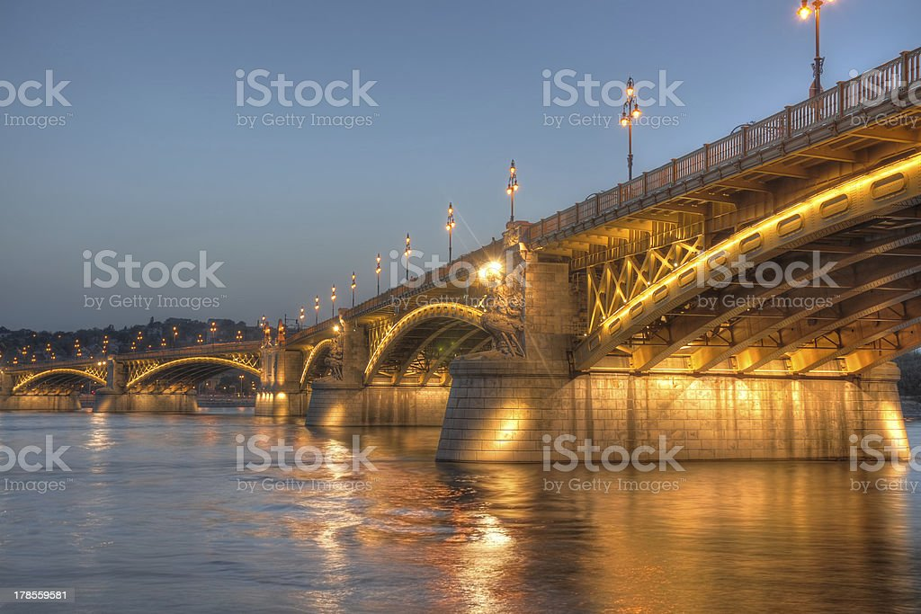 Margaret bridge, Budapest, Hungary stock photo