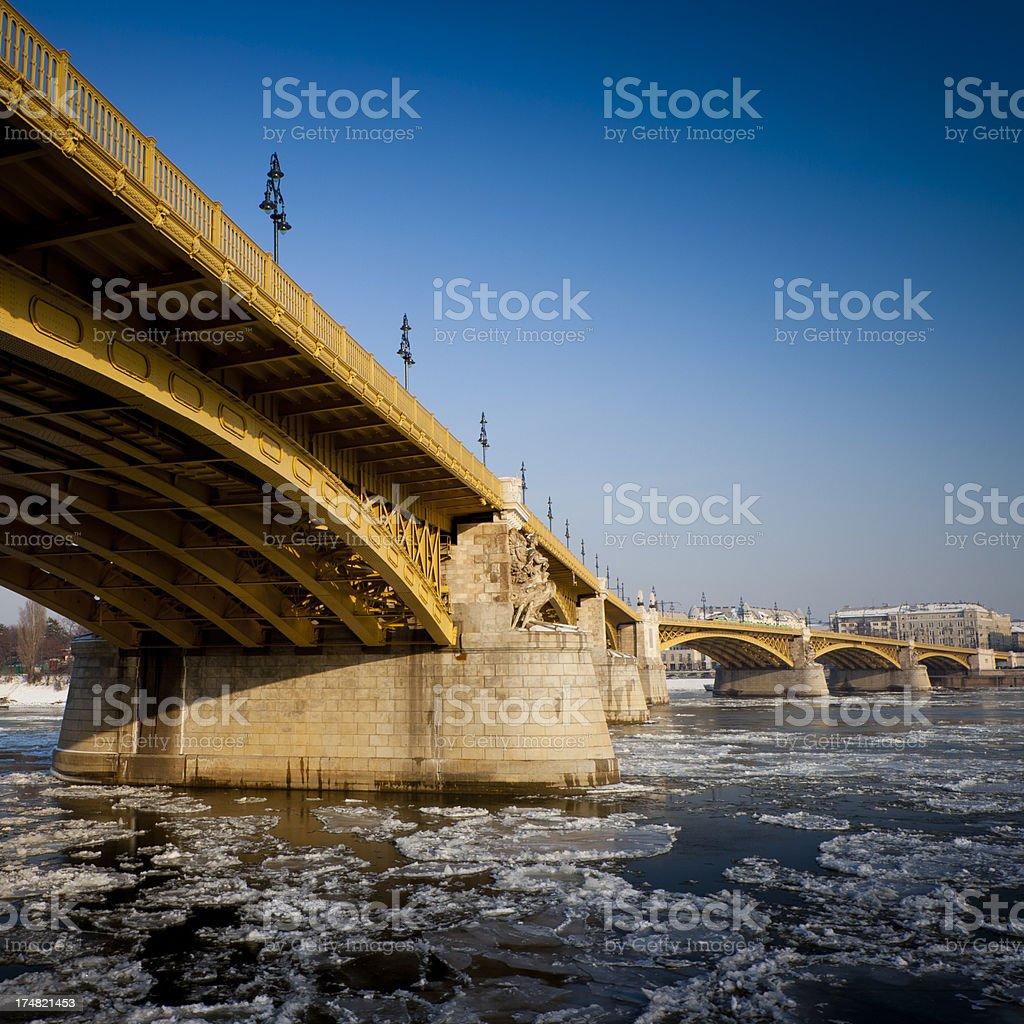 Margaret Bridge over the icy Danube, Budapest royalty-free stock photo