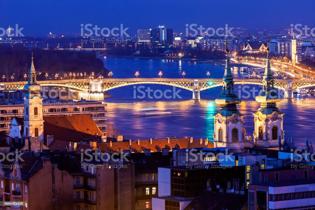 Margaret Bridge with Saint Anne church stock photo