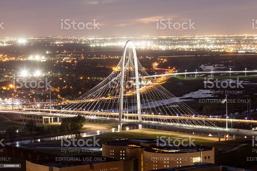 Margaret Hunt Bridge in Dallas at night stock photo
