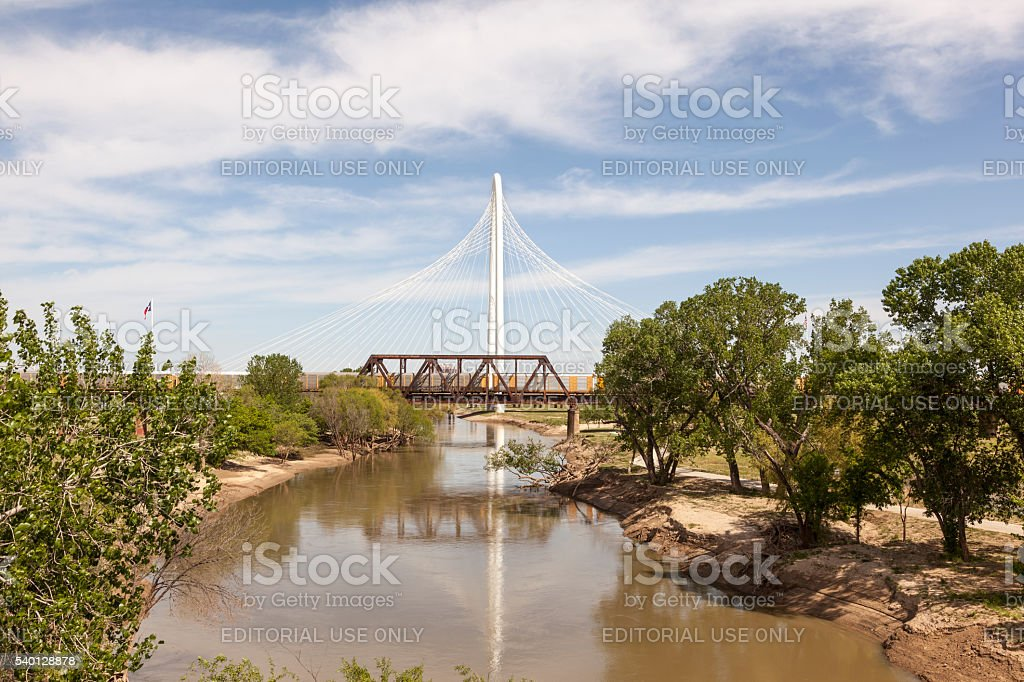 Margaret Hunt Bridge in Dallas, Texas stock photo