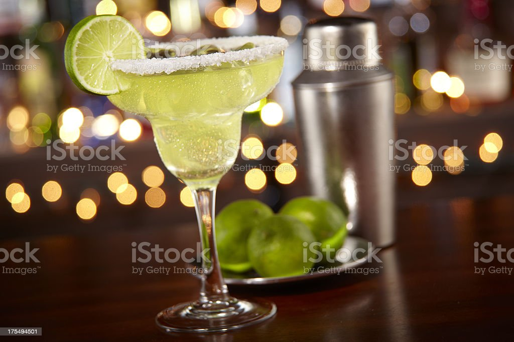 Margarita at a bar stock photo