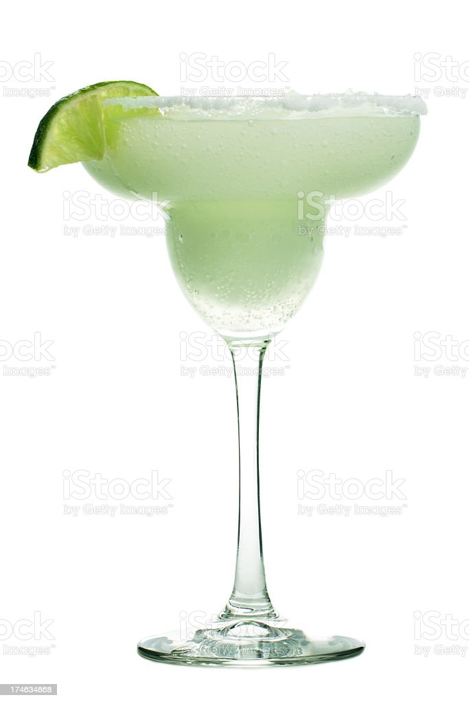 Margarita Cocktail Drink in Glass, Frozen Alcohol with Lime, Salt stock photo