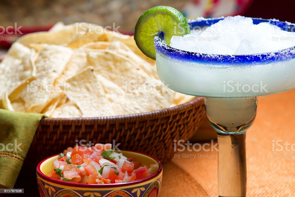 Margarita, Corn Chips and Salsa, Mexican Snack or Appetizer stock photo
