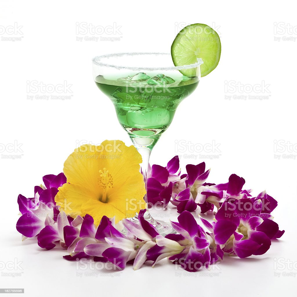 Margarita drink and Hawaii Lei stock photo