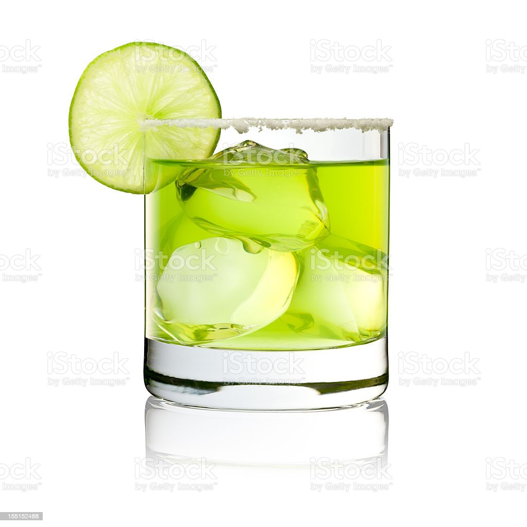 Margarita On The Rocks - Cocktail Glass Lime Green royalty-free stock photo