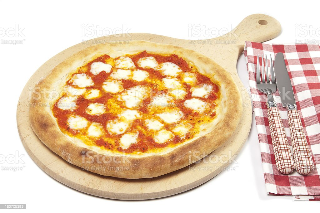 Margarita Pizza on Wood Plate royalty-free stock photo