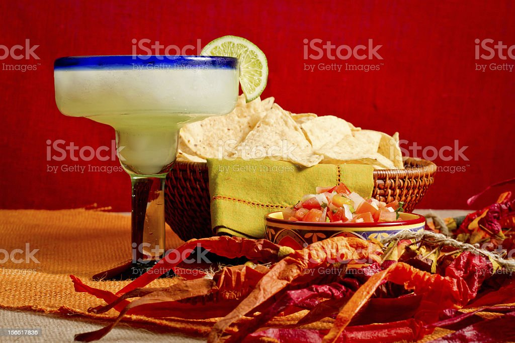 Margarita with Chips and Salsa royalty-free stock photo