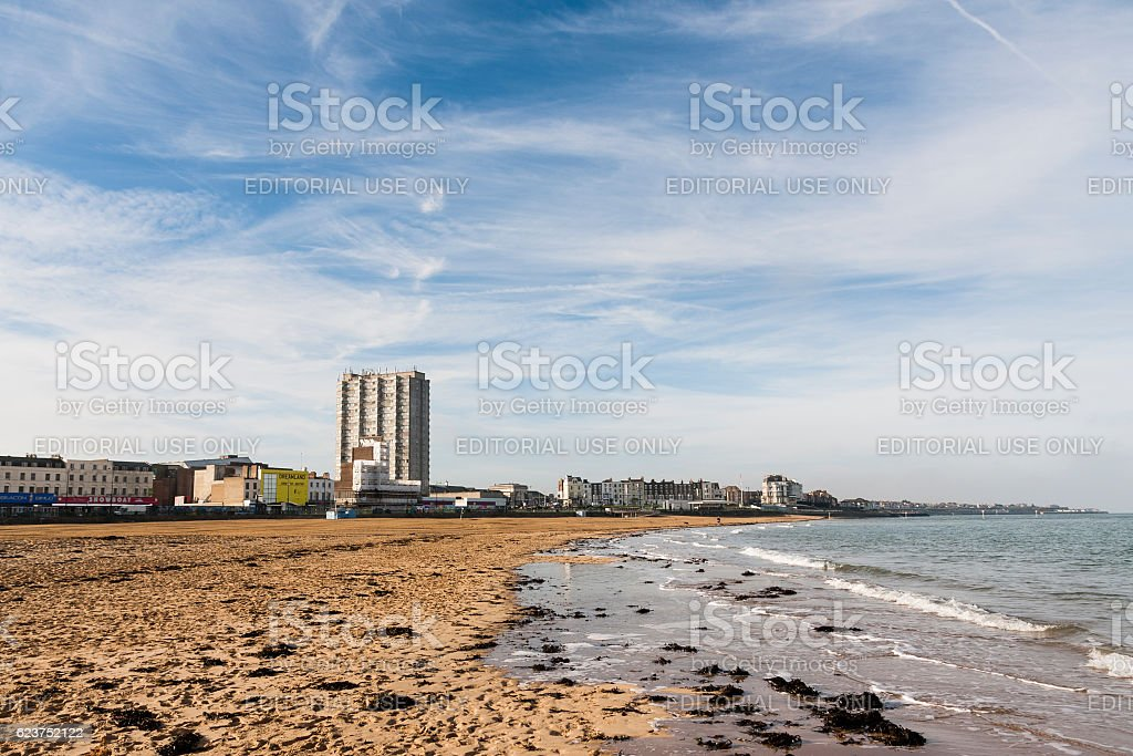 Margate Bay and beach in Kent, South-east England, UK stock photo