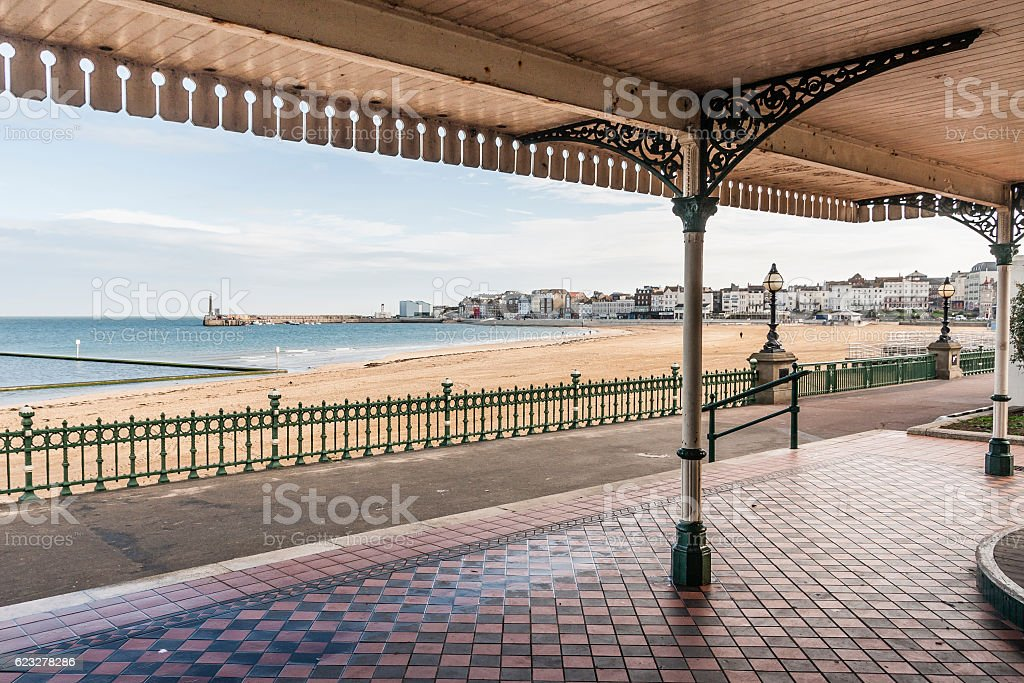 Margate Bay from a victorian shelter in Kent, England. stock photo