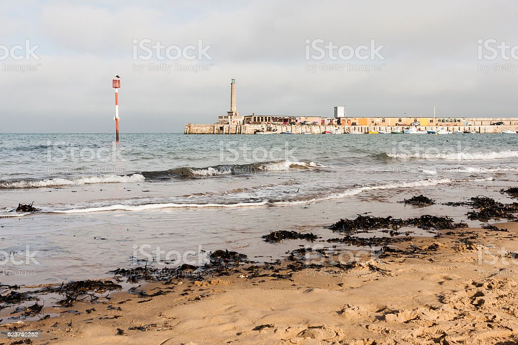 Margate beach and harbour wall in Kent, South-east England, UK stock photo