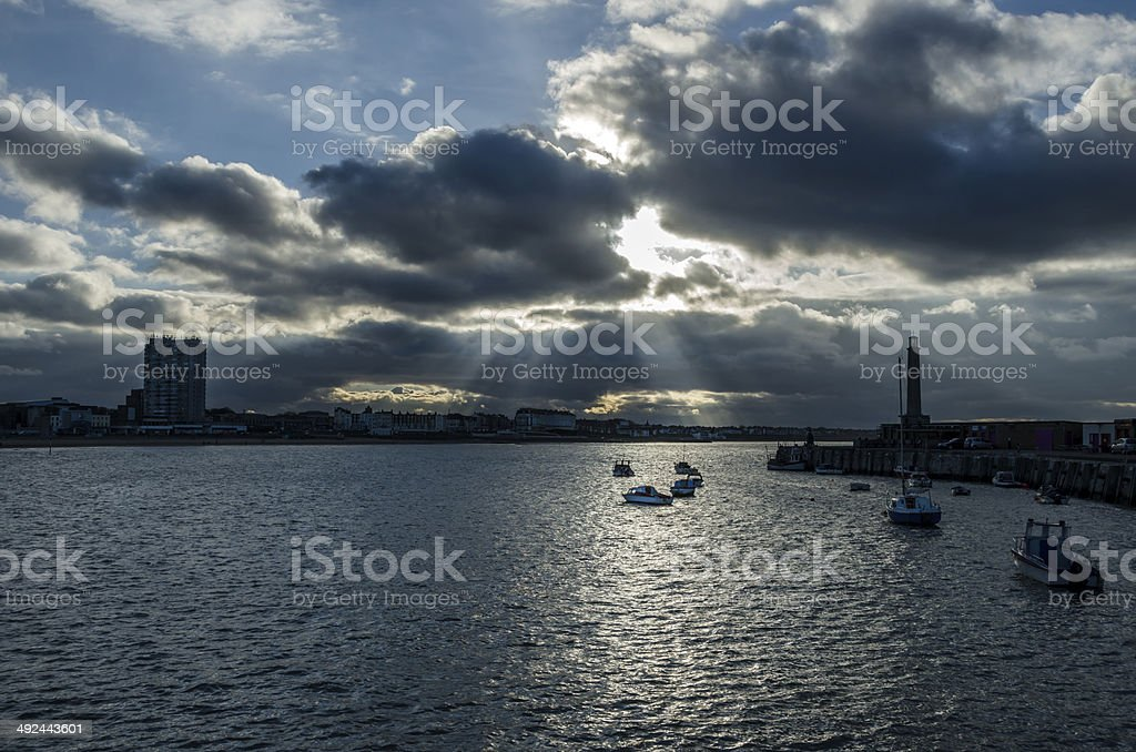 Margate harbour. stock photo
