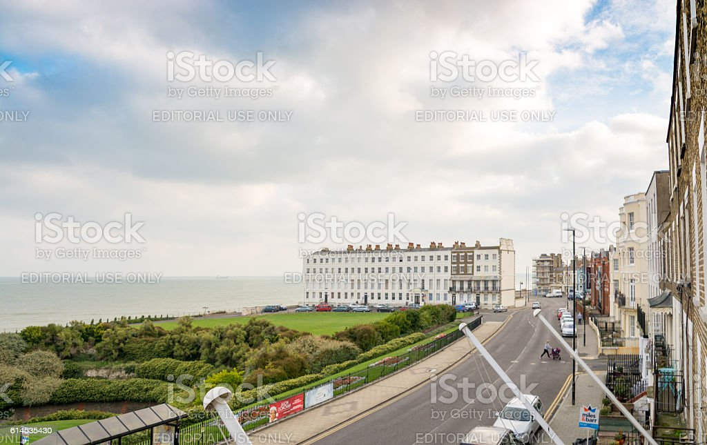 Margate seafront and houses in Kent, UK stock photo