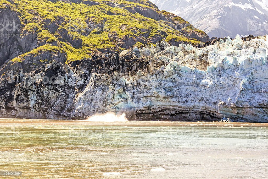 Margerie calving in Glacier Bay, Alaska stock photo