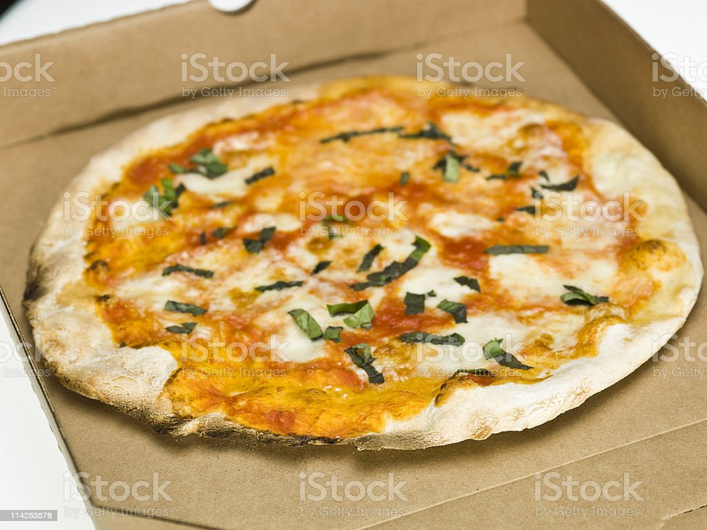 Margharita Pizza on delivery box stock photo