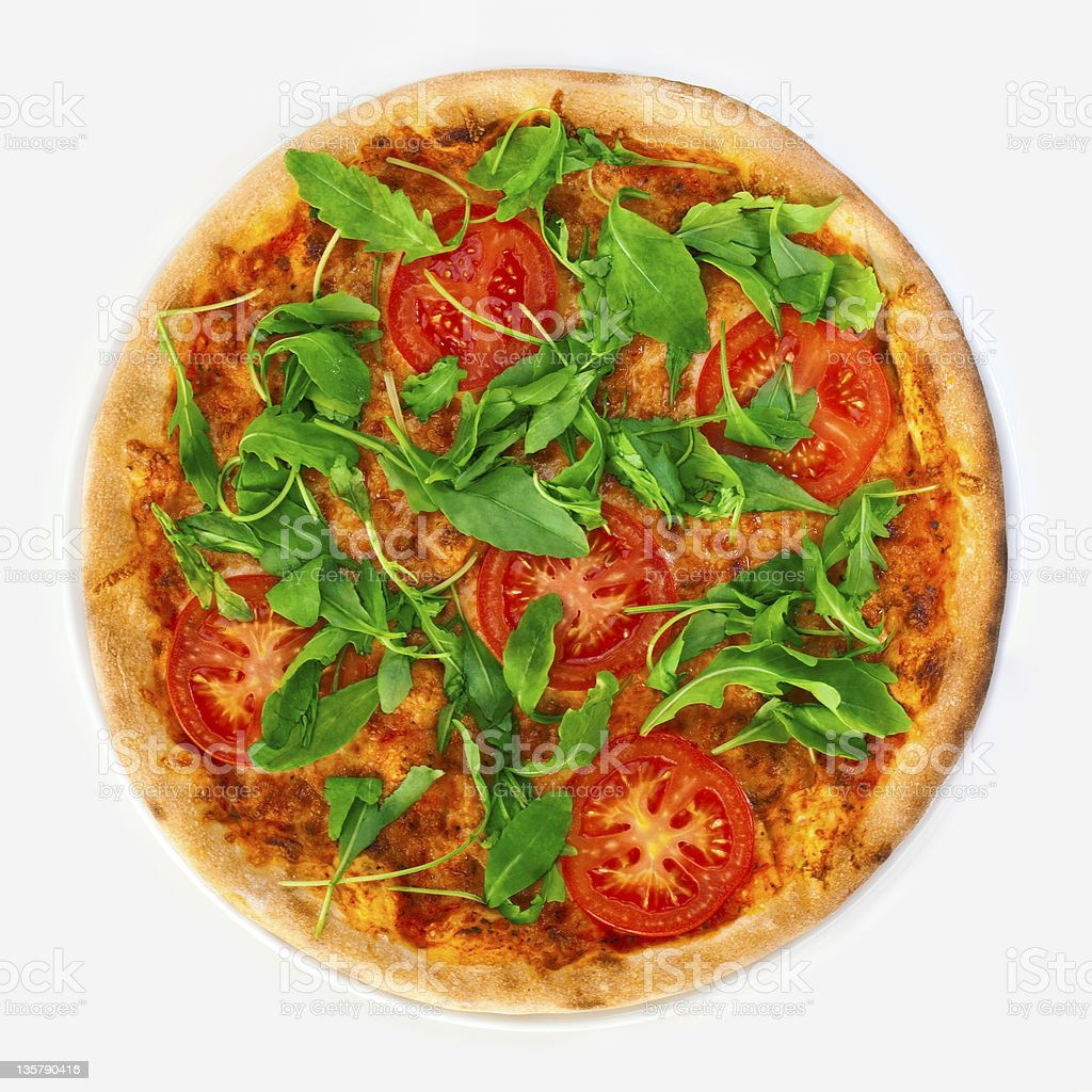 Margharita pizza with cheese tomato and arugula stock photo