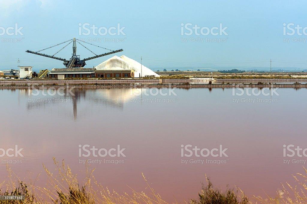 Margherita di Savoia (Puglia, Italy): Salt evaporation pond stock photo