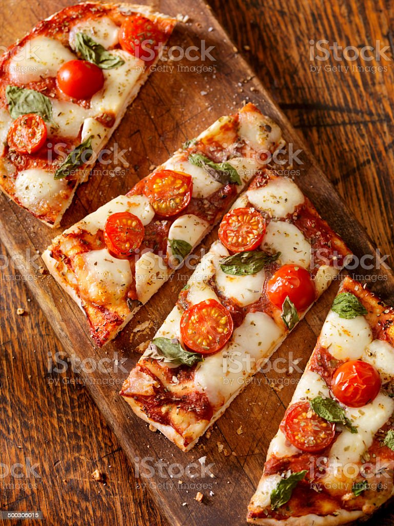 Margherita Flat Bread Pizza stock photo