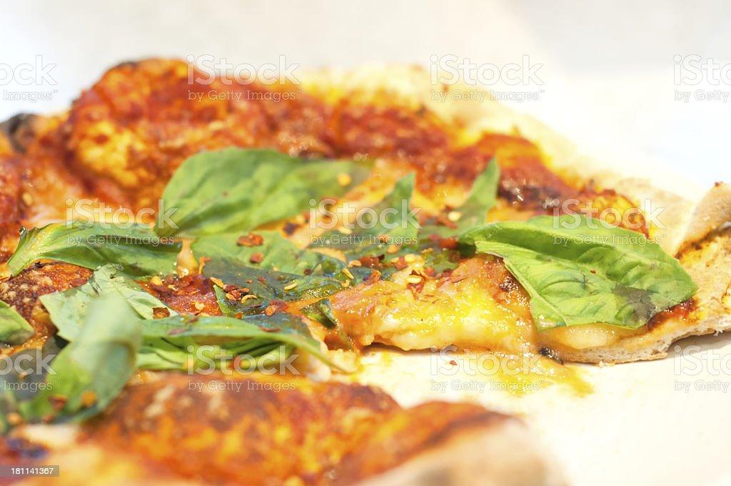 Margherita Pizza – Vegetarian with Organic Tomatoes, Chili & Basil royalty-free stock photo