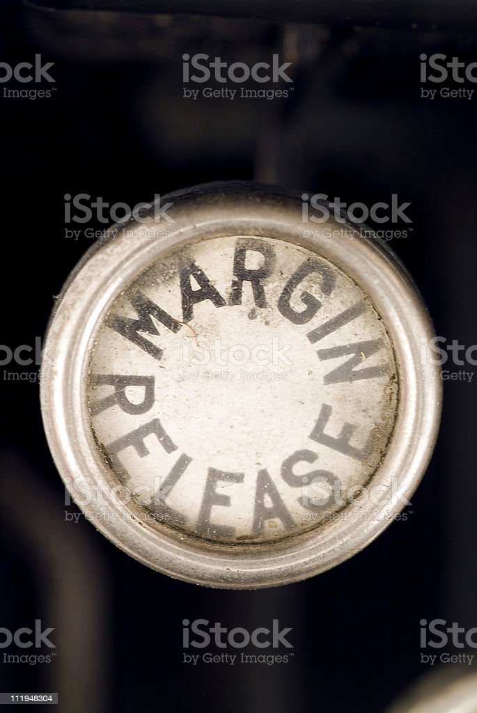 Margin Release on a old typewriter keyboard stock photo