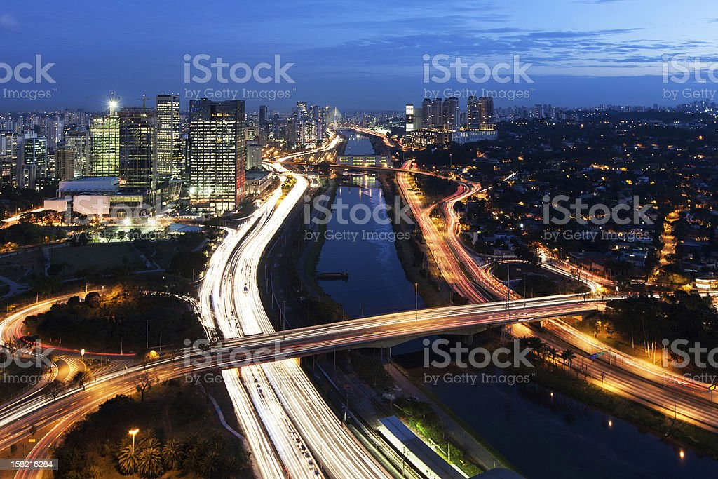Marginal Pinheiros at night stock photo