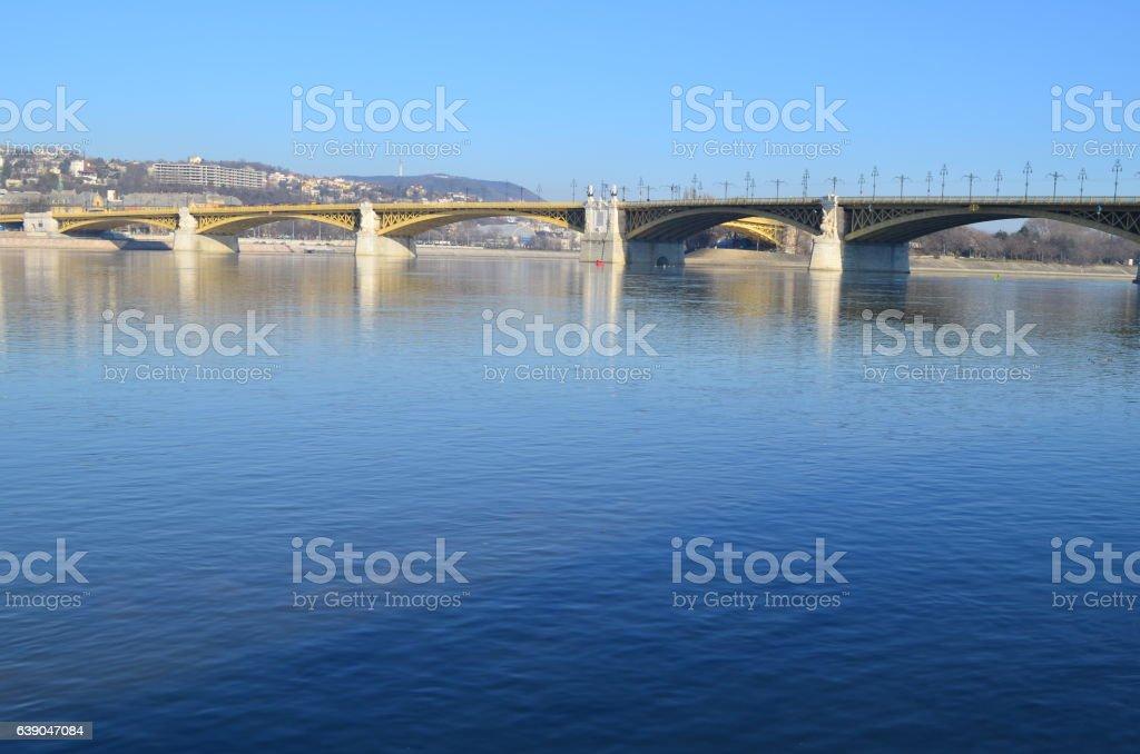 Margit or Margaret Bridge bridge in Budapest, Hungary. stock photo