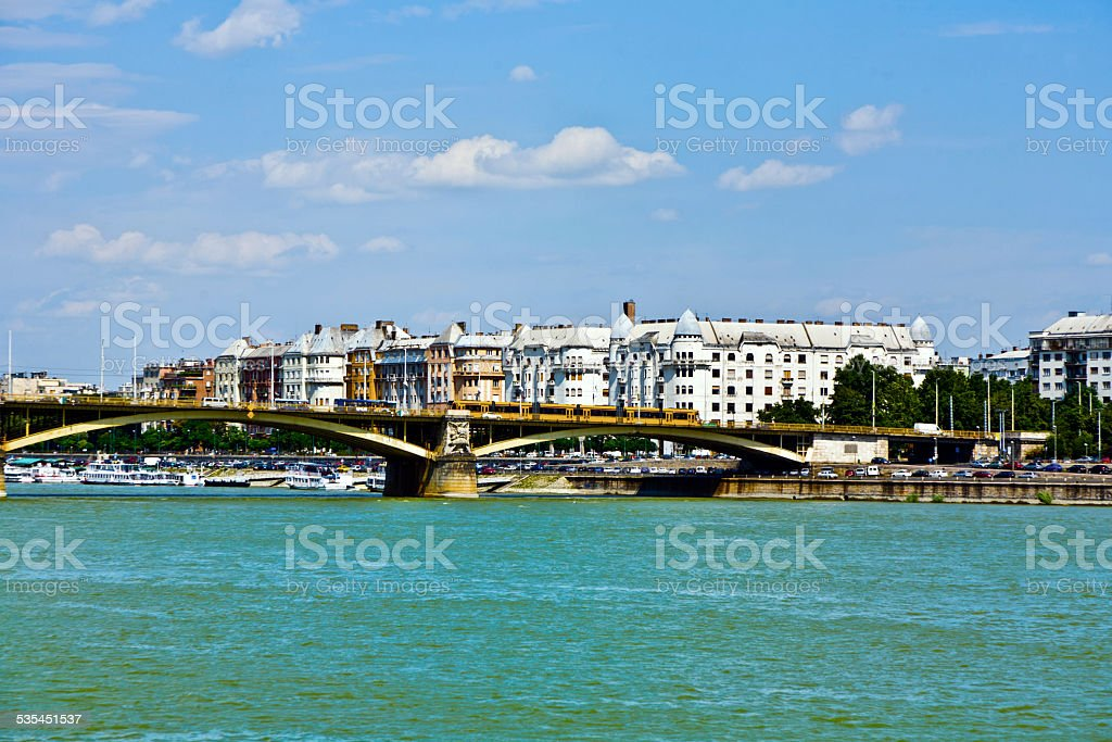 Margrit hid Bridge in Budapest on the Danube River. stock photo