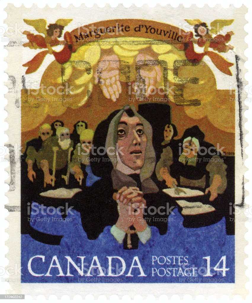 Marguerite d'Youville First Canadian Saint on Canada Postage Sta stock photo