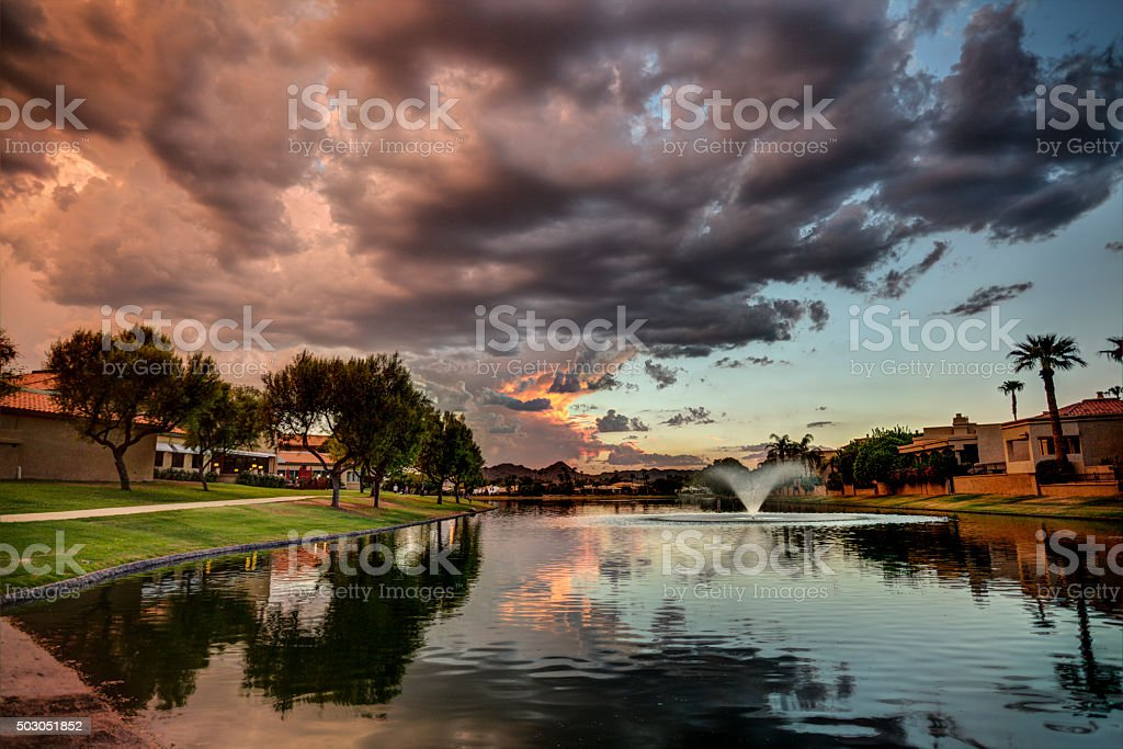 Marguerite Lake in Scottsdale Arizona at Sunset stock photo