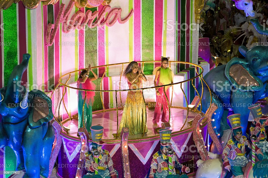 Maria Bethânia clapping on a carnival float royalty-free stock photo