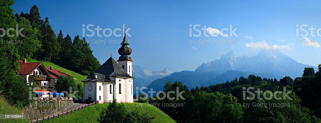Maria Gern Church in Bavarian Alps on Mountain royalty-free stock photo
