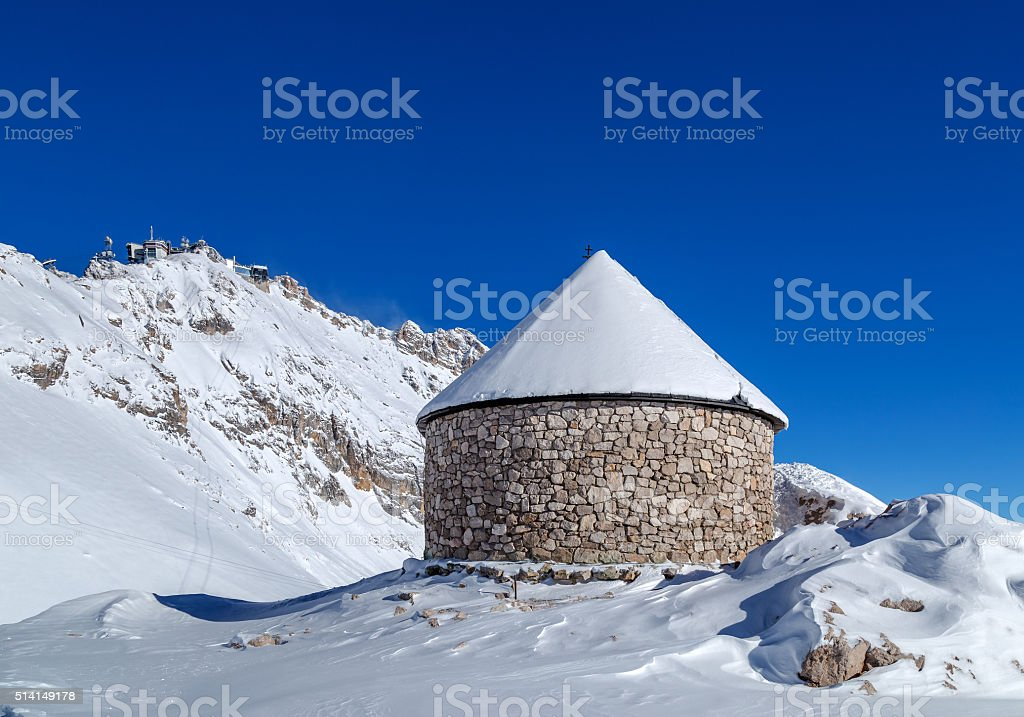 Maria Heimsuchung on top of Zugspitze, Germany stock photo