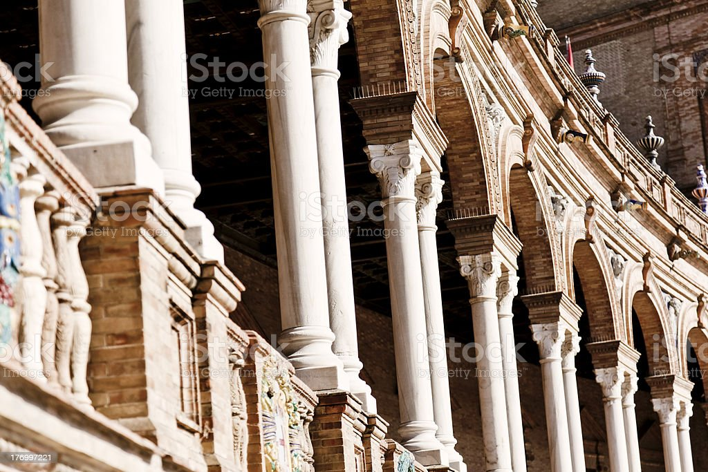 Parque Maria Luisa in Sevilla. Clonnade royalty-free stock photo