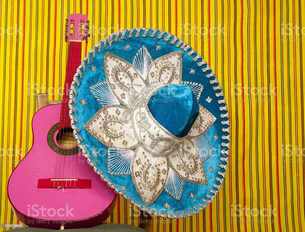 mariachi embroidery mexican hat pink guitar royalty-free stock photo