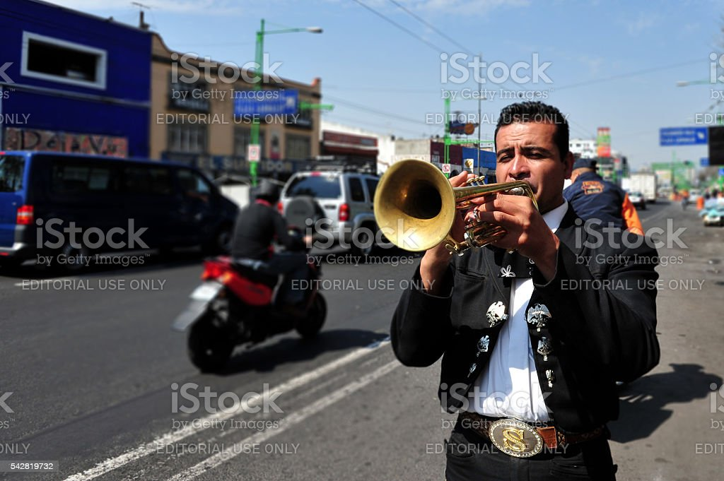 Mariachi play music in Mexico City stock photo