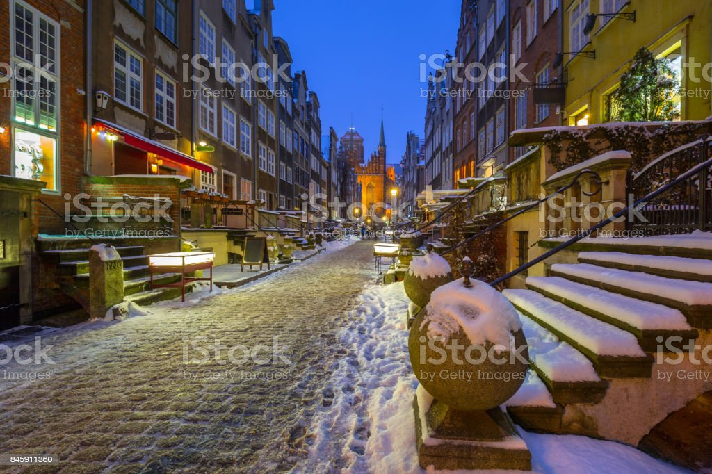 Mariacka street in Gdansk at snowy winter stock photo