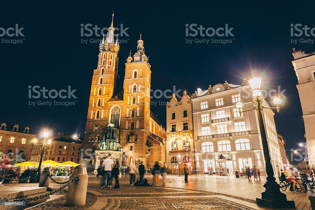Mariacki cathedral in Krakow by night stock photo