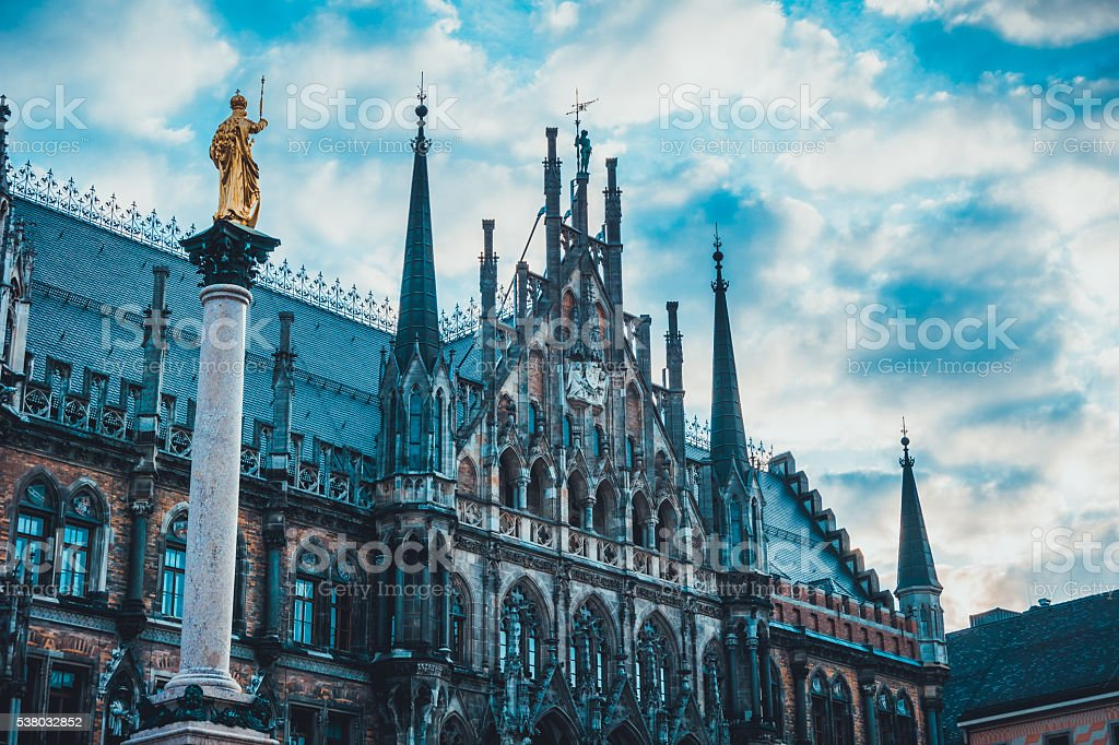 Marian Column and New City Hall in Munich, Germany stock photo