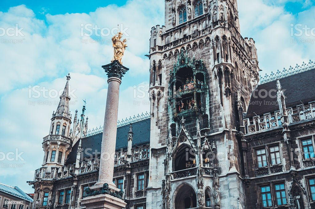Marian Column in front of Munich New City Hall stock photo