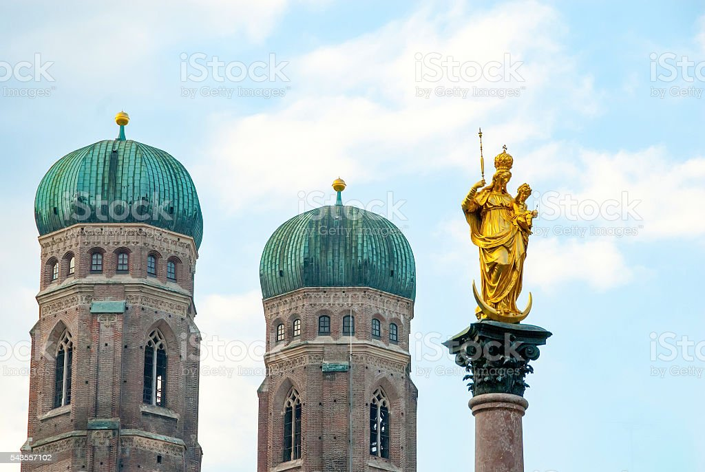 Marian Column, Marienplatz, Munich, Germany stock photo