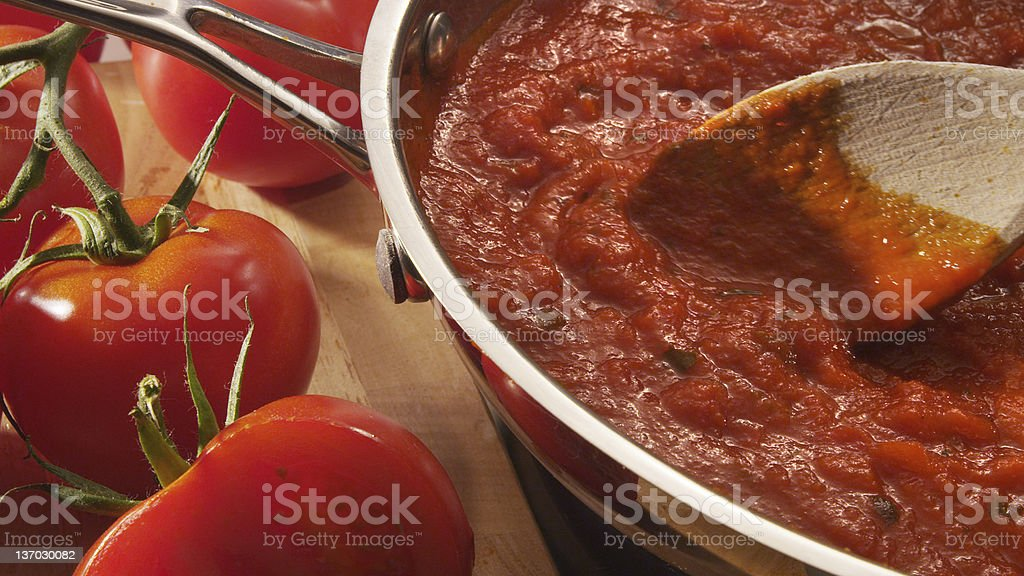 Mariana sauce simmering in pan stock photo