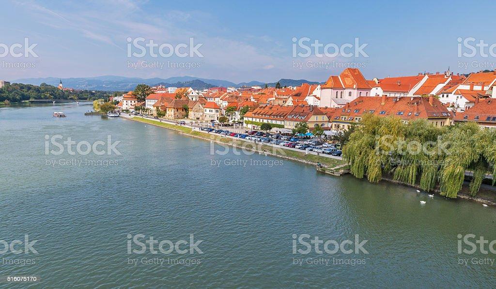 Maribor city and Drava river in Slovenia. stock photo