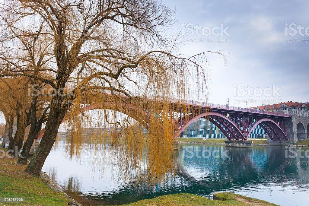 Maribor old bridge stock photo