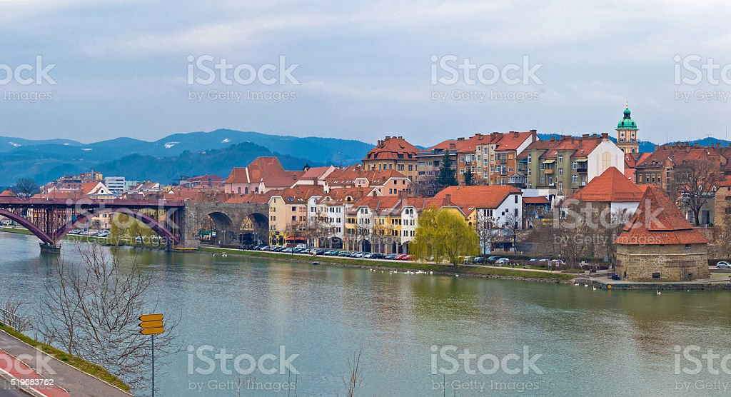 Maribor waterfront and old town view stock photo