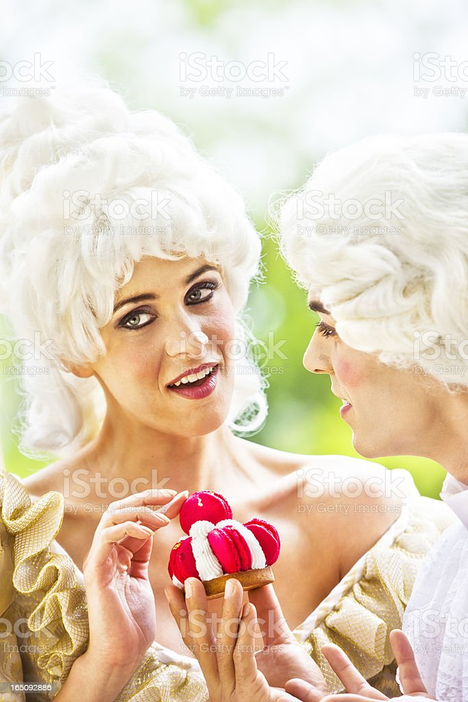 Marie Antoinette and dashing man at her side stock photo