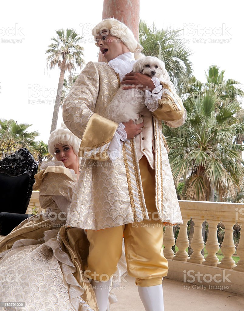 Marie Antoinette pinching male companion royalty-free stock photo