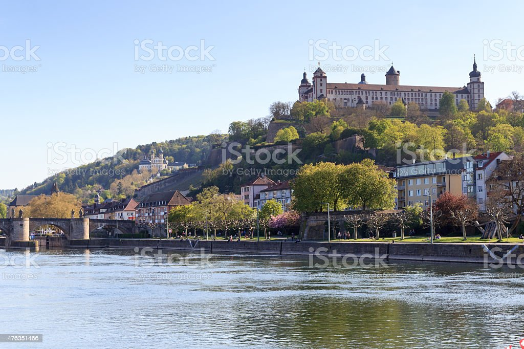 Marienberg Fortress and Alte Mainbrucke in Wurzburg, Germany stock photo