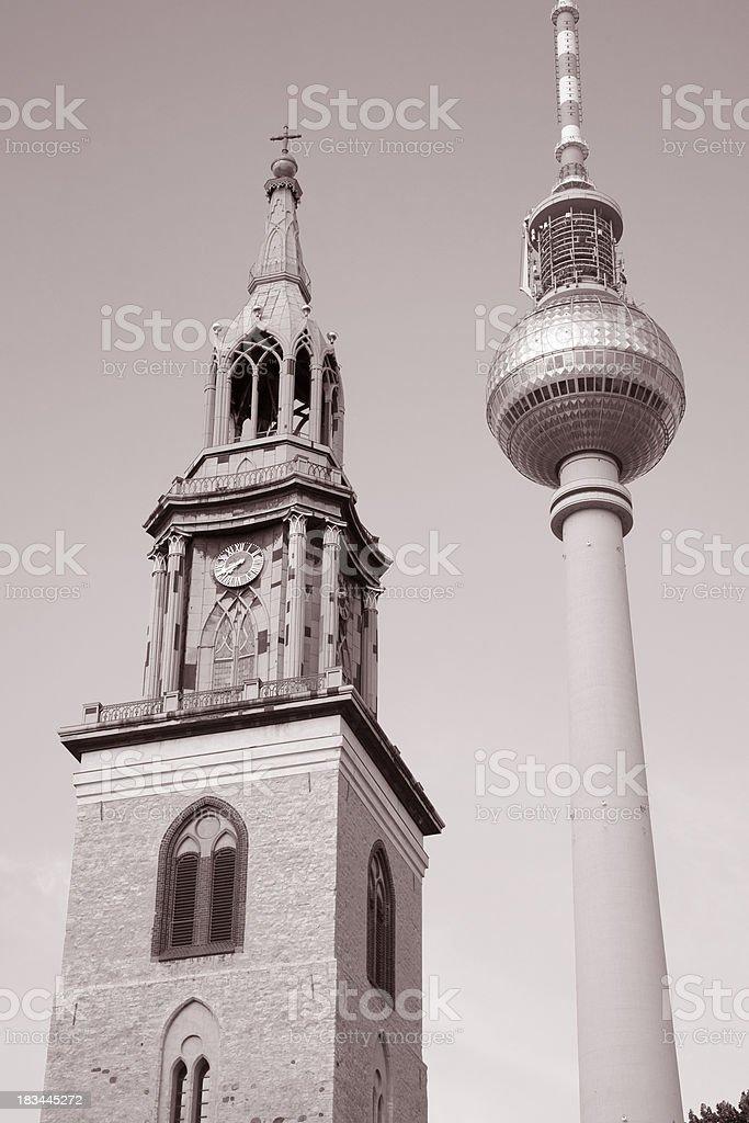 Marienkirche Church and Fernsehturm Television Communication Tower, Berlin royalty-free stock photo