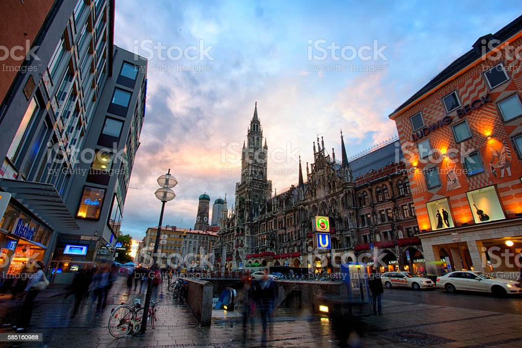 Marienplatz and Neues Rathaus In Munich, Germany stock photo